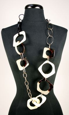 SOLD!   Previously owned MARNI resin linked necklace - a fabulous statement piece in neutral tones -