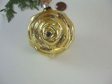 Vintage Antique Yellow Mica Rose Mercury Glass Christmas Tree Ornament-Germany