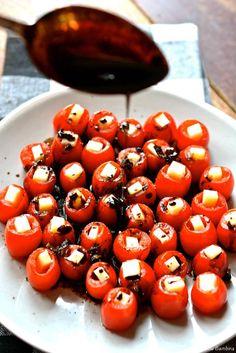 Mozzarella-Filled Cherry Tomatoes with Balsamic Glaze  ciaochowbambina.com
