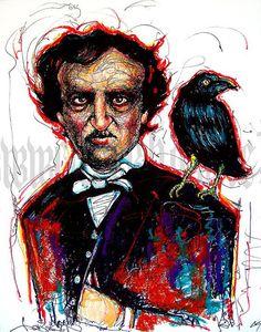 Print 11x14  Edgar Allan Poe  Raven Nevermore Poem by chuckhodi, $12.00