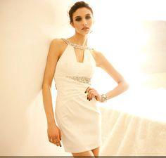 Fashion sparkling diamond sexy racerback slim waist party dress white bridesmaid dress sister dress $55.04 --MOM'Sor too simple?  PHP2600
