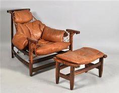 Jean Gillon, lounge chair, 'Captain Chair' with ottoman (2)
