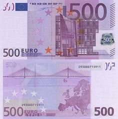 European Monetary Union 500 Euros_2002. (European Central Bank will discontinue production and issuance of the 500-euro banknote (B107) in 2018, though existing notes will remain legal tender. The new Europa series will not include the 500-euro denomination.)