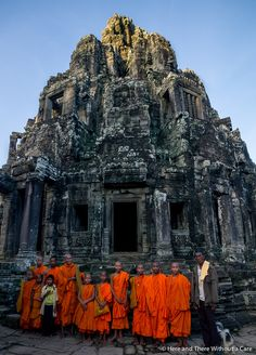We were so lucky to find all of these monks around the Bayon Temple :) Discovered by Jonah&Carmen @ Here and There Without a Care at Angkor Wat, Siem Reap, Cambodia