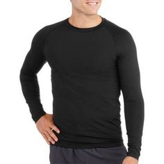Starter Big Men's Long Sleeve Fitted Base Layer Tee, Size: 3XL, Black