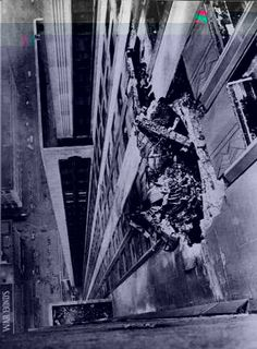 Empire State Building Plane Crash.    B-25 Bomber hits the 78th floor, July 28, 1945.