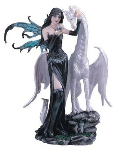 Black Fairy With White Dragon Figurine Statue #2(FREE SHIPPING)