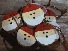 Santa Christmas Ornament Set Hand Painted by GFTWoodcraft on Etsy