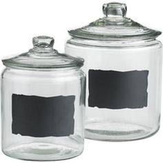 Love the glass jars look, but the chalk board is handy dandy.