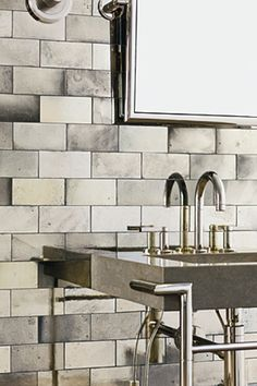 Ann Sacks antique mirrored subway tiles