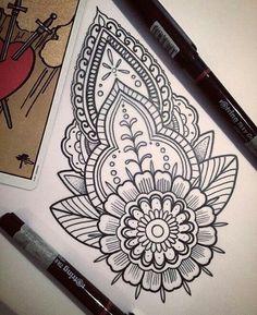 Tattoos Mandala, Mandala Tattoo Design, Wrist Tattoos, New Tattoos, Sleeve Tattoos, Doodle Art Designs, Mehndi Designs, Tattoo Designs, Mandala Art Lesson