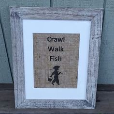 Nursery decor boy nursery crawl walk fish rustic nursery decor fishing theme baby shower pregnancy announcement toddler boy baby boy by SignsofBurlap