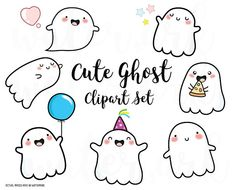 Vector Clipart - Kawaii Ghosts, Kawaii Halloween - Cute ghosts Clipart Set - High Quality Vectors - Instant Download - 300dpi png