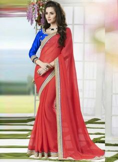 Glorious Red Faux Georgette With Patch Border Work Party  Wear Saree http://www.angelnx.com/Sarees/Designer-Sarees