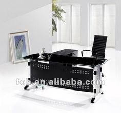 Executive Office Table With Glass Top : Office design on Pinterest  Executive Office, Desks and Office Desks