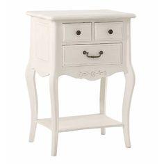 Mesita de noche 3 cajones Vintage Sophie Material: DM Densidad Media Esta linea de muebles esta realizada en DM, esta pintada con espray color blanco, fabricada semiartesanal... Eur:161 / $214.13