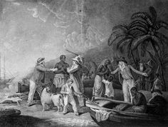 Europeans Buying Enslaved Africans, ca. 1790. Engraving by John Raphael Smith from a painting by George Morland (Musee du Chateau des Ducs de Bretagne, Nantes (France) - Courtesy of Colonial Williamsburg Foundation)