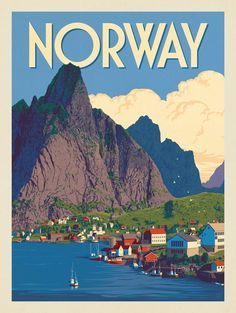 Anderson Design Group – World Travel – Norway Illustrations Vintage, Norway Travel, Spain Travel, Travel Europe, Italy Travel, Tourism Poster, Photo Vintage, Vintage Ski, Travel Wall