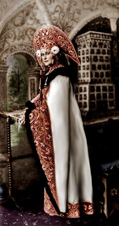 Russian Dress.  I'd like to wear stuff like this all winter long.  The headress would be worn for special occasions.