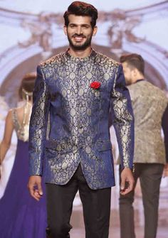 best blue and silver new short sherwani styles 2017 sherwani for men in pakistan with black trouser