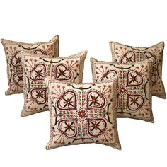 Throw Pillow Case Cover Handmade Embroidered Cotton Set of 5 from India