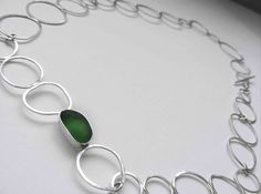 Green sea glass silver link necklace.  Hand crafted and hand selected sea glass. Designed in Devon