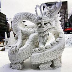 -m---Sapporo Snow Festival, Hokkaido. Snow And Ice, Fire And Ice, Snow Sculptures, Lion Sculpture, Sculpture Ideas, Legos, Look Kimono, Snow Dragon, Matsuri Festival