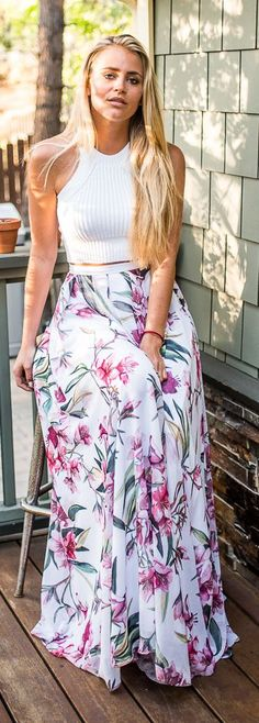 White Floral Maxi Skirt + white top. Summer women fashion outfit clothing style apparel @roressclothes closet ideas