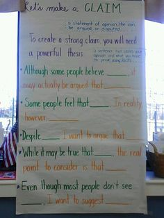 Powerful thesis statements! Providing students with sentence stems to make strong claims.