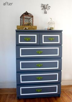 I love the idea of spray painting the antique handles a bright color....gives a totally new life to the dresser.  Hard to believe it started as a flat front Ikea dresser!