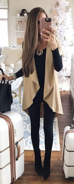 #fall #outfits women's brown cardigan with black scoop-neck long-sleeved shirt with black leggings