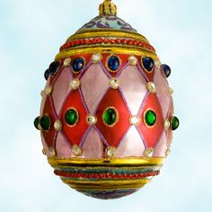 Christopher Radko Harlequin Faberge Egg Christmas Ornament with jewels - great Mardi Gras collectible