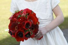 red wedding floral  | The Flower Magician: Vivid Red Valentines Wedding Bouquet