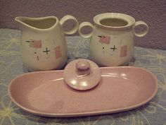 Tickled Pink Vernonware Sugar Creamer and Tray by maggiecastillo,
