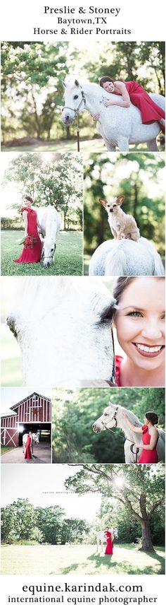 Horse & Rider portrait session in Bayton,TX with Preslie and Stoney featuring a One Shoulder Red Dress from Rent the Runway. Horse & Rider Portraits available nationwide from Karinda K.