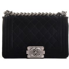 CHANEL Velvet Quilted Small Boy Flap Black ❤ liked on Polyvore featuring bags, handbags, black quilted handbag, flat purse, velvet purse, chanel bags and flap purse