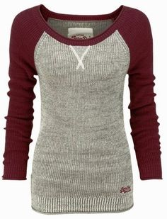 Beautiful Thermal Baseball Sweater Shirt - WSU colors!