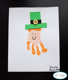 Hand print leprechaun - and this babble blog has other St. Patrick's Day ideas