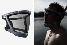"""D-Mask Smart Diving Mask"" source : HiConsumption Dive Mask, Armor Concept, Briefcase For Men, Face Design, Best Scuba Diving, Headgear, Cool Gadgets, Industrial Design, Gears"