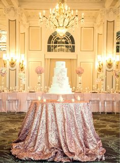 Blush pink wedding inspiration ideas In love with this blush table cloth!<br> Blush pink wedding inspiration ideas including table linen luxury florals stunning cakes and more. Perfect Wedding, Dream Wedding, Sequin Tablecloth, Tablecloth Ideas, Festa Party, Here Comes The Bride, Reception Decorations, Gold Decorations, Event Decor
