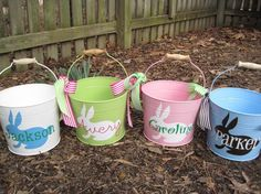 Personalized Easter Bucket assorted colors by on Etsy Easter Projects, Easter Crafts, Holiday Crafts, Holiday Fun, Easter Ideas, Vinyl Crafts, Vinyl Projects, Shilouette Cameo, Easter Buckets