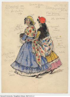 Petrouchka: costume design: Two Gypsies Creator: Benois, Alexandre Date: 1956 http://via.lib.harvard.edu/via/deliver/deepLink?_collection=via=olvwork271211