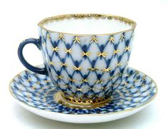 Russian Tea Cup and Saucer, Cobalt Net, handpainted deep blue with 22Kt gold accents.