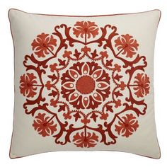 Rust Suzani Medallion Accent Pillow Cover