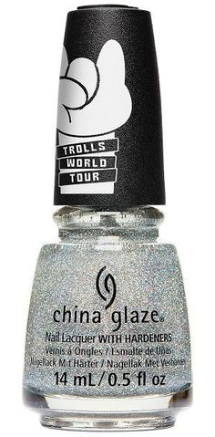 Dense holographic silver micro-glitter in a clear base. Builds up on nail with coats. China Glaze Trolls World Tour Collection, Spring China Glaze Nail Polish, Opi Nail Polish, Nails, Nail Hardener, China Clay, Color Club, Nail Treatment, Nail Polish Collection, Feet Care