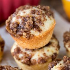 These Little Crumb Cake Bites are a copycat of the grocery store and they taste way better! They're bite sized and perfect for lunch.