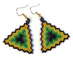 Colorful Seed bead earrings  Triangle Peyote by Anabel27shop