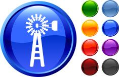 Blue Graphic Icon of a Farm Wind Mill Power Generator vector art illustration