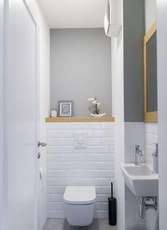 Space Saving Toilet Design for Small Bathroom - Home to Z toilettes Half Bathroom Decor, Bathroom Design Small, Bathroom Styling, Bathroom Interior Design, Modern Bathroom, Bathroom Ideas, Half Bathrooms, Cloakroom Ideas, Small Toilet Design