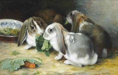 Marie Nestler-Laux (German, b. 1852): Lop-eared rabbits (via Plum leaves on Flickr)